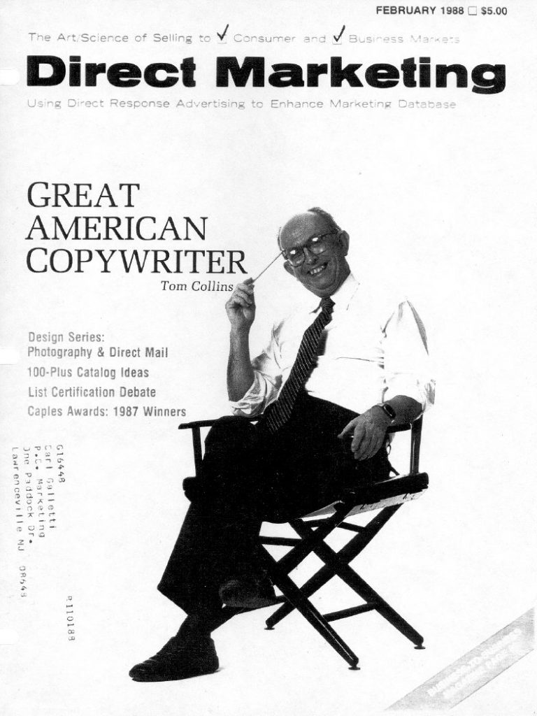 Thomas Lyle Collins on the cover of Direct Marketing magazine sends testimonial letter to Carl Galletti